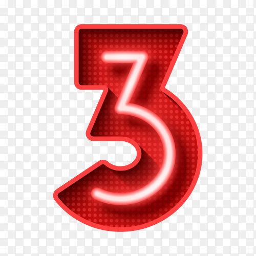 Number three symbol neon light 3D on transparent background PNG