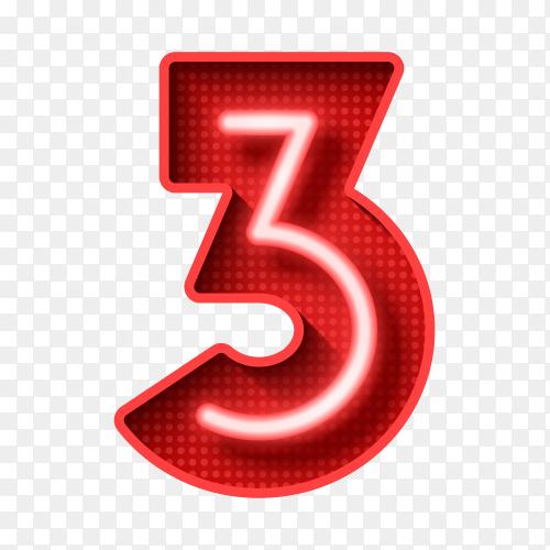 Number three symbol neon light 3D on transparent background PNG