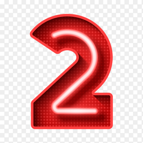 Number two symbol neon Liht 3D vector PNG