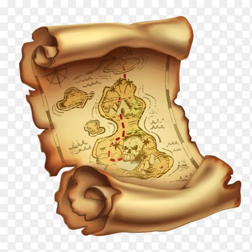 Old map treasure Premium vector PNG