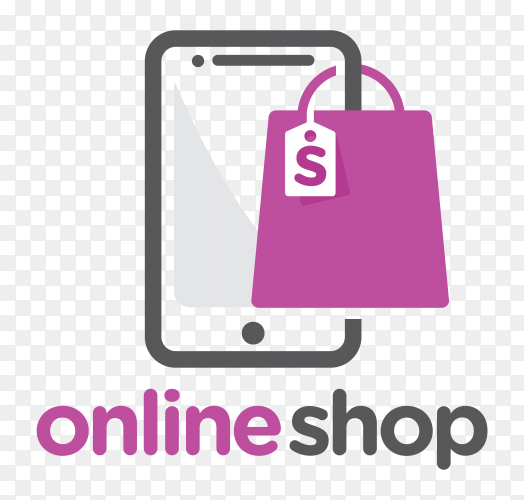 Online shop logo template on transparent background PNG