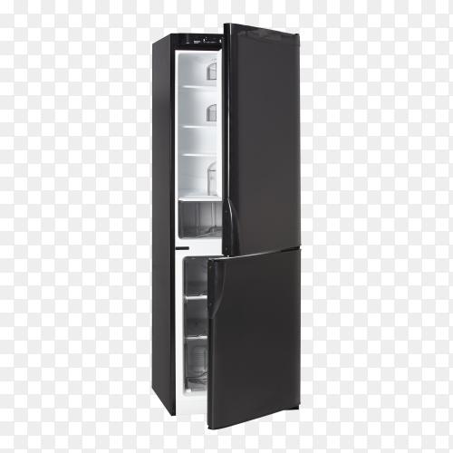 Open Black Refrigerator on transparent background  PNG