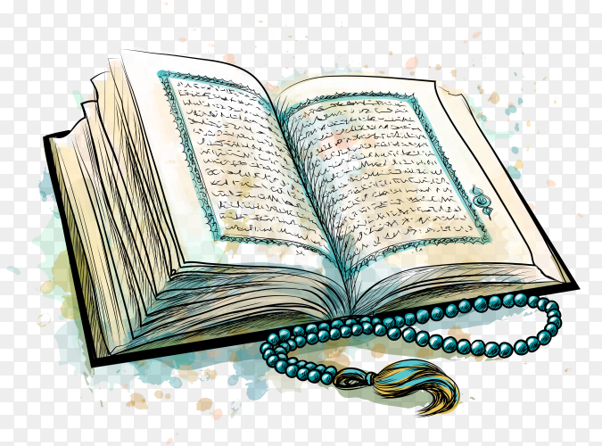 Open Holy Quran Islam Book on transparent PNG
