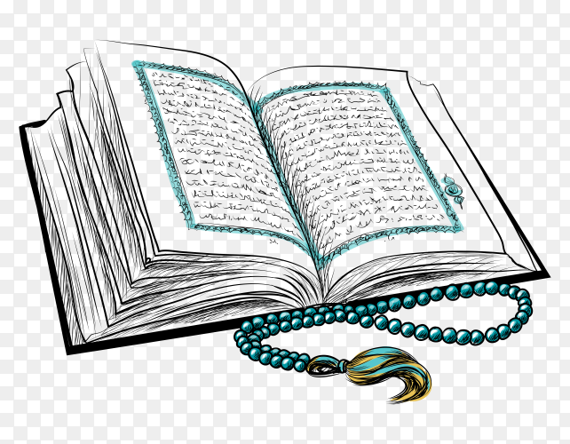 Open Holy Quran Islam Book on transparent background PNG
