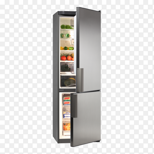 Open fridge refrigerator full of food and Fruites isolated on transparent PNG