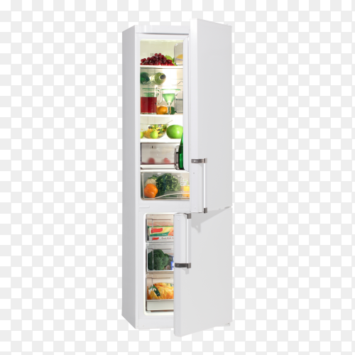 Open fridge refrigerator full of food and drinks isolated on transparent PNG