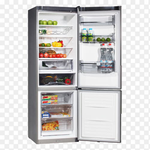 Open fridge refrigerator full of food and drinks on transparent background PNG