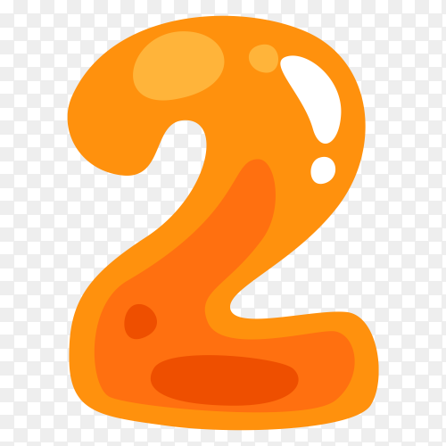 Orange color shaped  number two on transparent background PNG