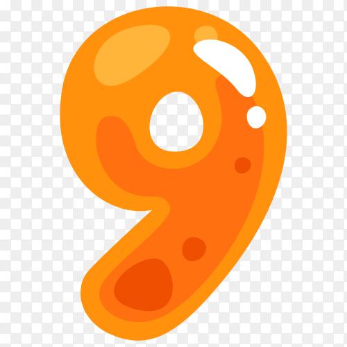Orange color shaped number nine Clipart PNG