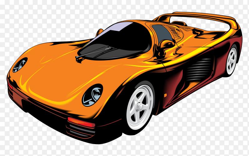 Orange sports car Premium vector PNG
