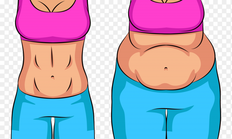 Over weight and slim woman Premium vector PNG