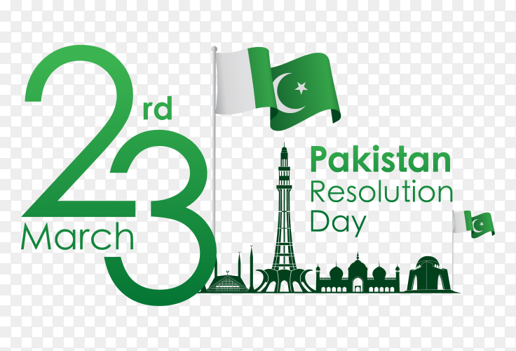 Pakistan resolution day with flag vector PNG