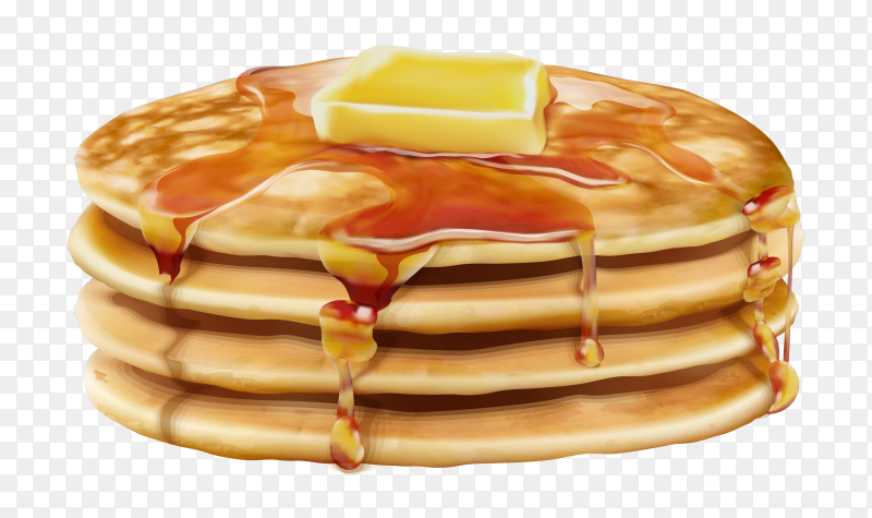 Pancakes with butter and honey Premium vector PNG