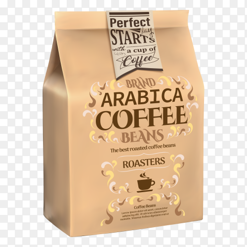 Paper coffee bag on transparent background PNG