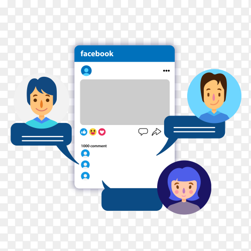 People comment in facebook vector PNG