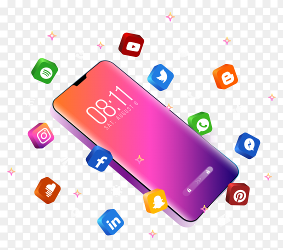 Phone purple theme with apps on transparent background PNG