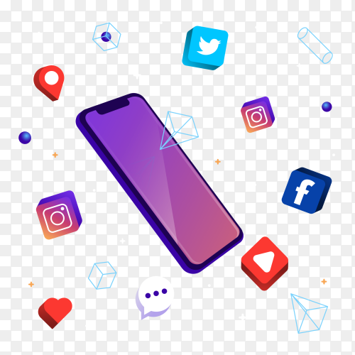 Phone technology with elements social media Clipart PNG