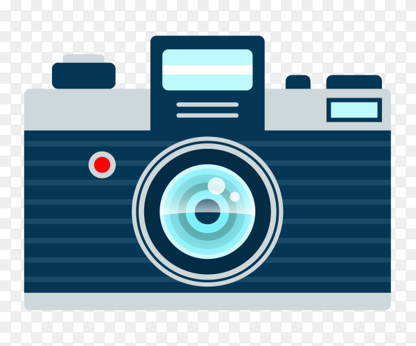 Photo camera on flat design Premium vector PNG