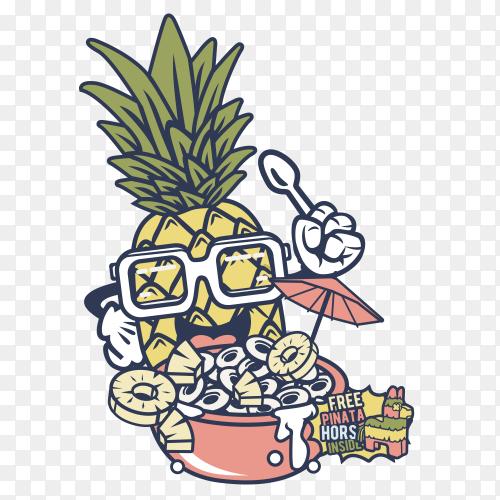 Pineapple Crunch Cartoon Premium vector PNG