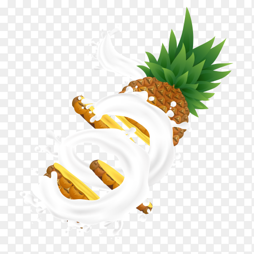 Pineapple milk juice with splashes Clipart PNG
