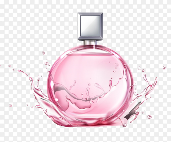 Pink perfume bottle on transparent background PNG