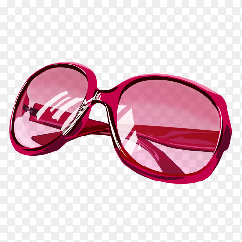 Pink sunglasses with Pink lenses on transparent background PNG