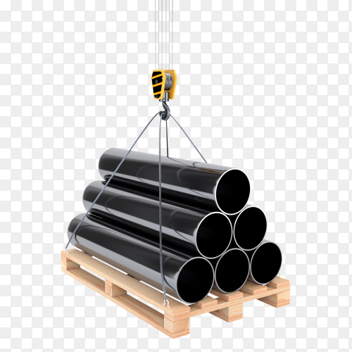 Pipe on a pallet with a crane hook on transparent  PNG