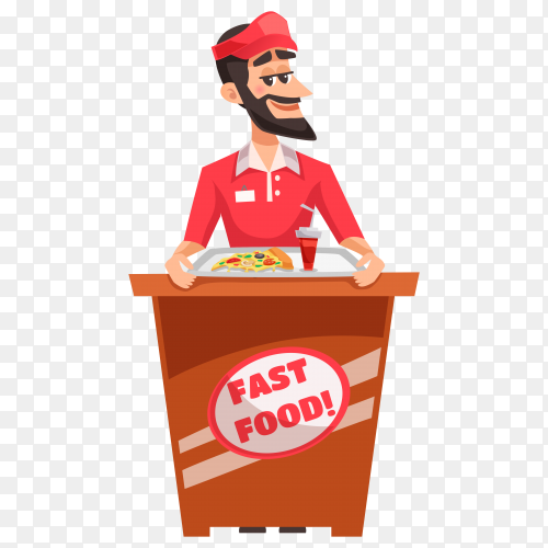 Pizza seller design on transparent background PNG