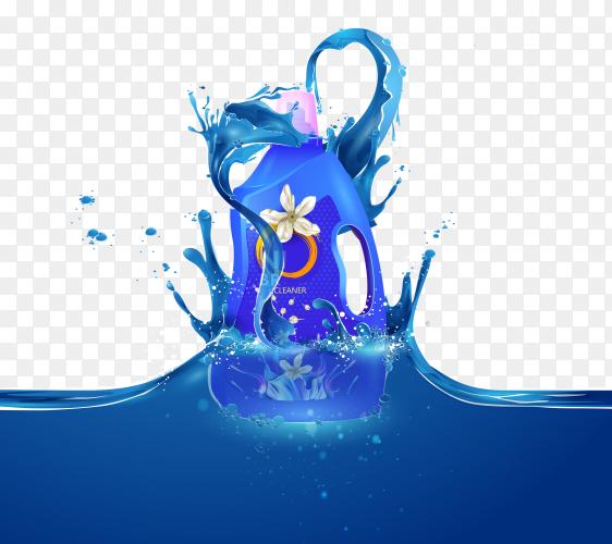 Plastic bottle with clean laundry detergent. Premium Vector PNG
