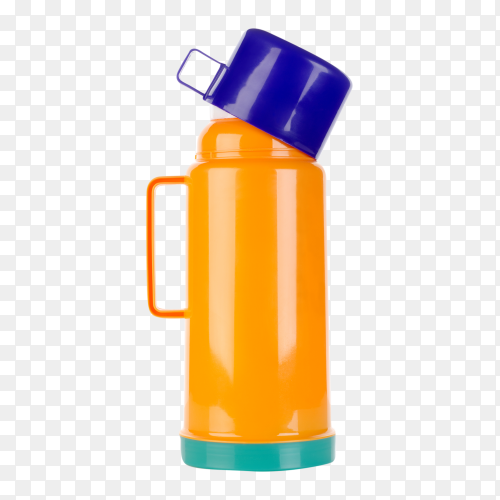 Plastic thermos on transparent background PNG