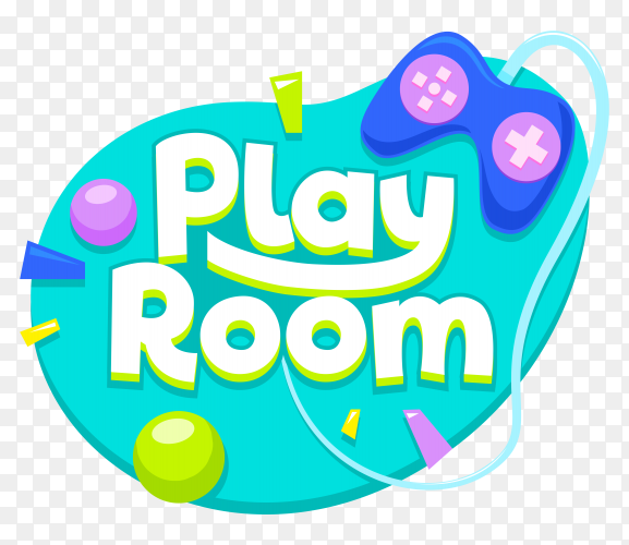 Play room text style on transparent background PNG