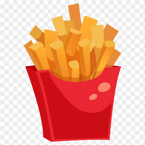 Potatoes fries in a red carton box on transparent background PNG