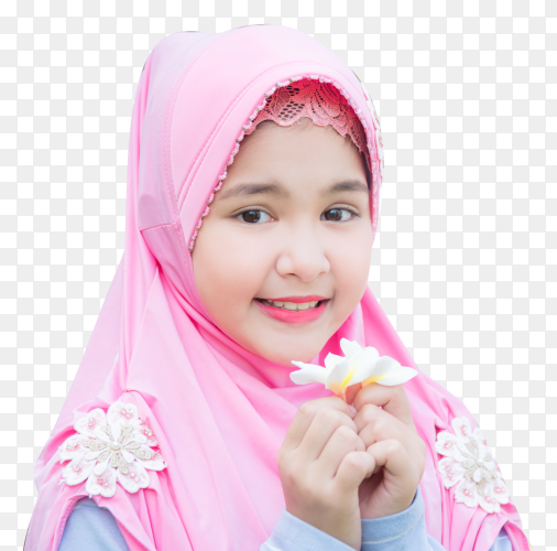 Pretty muslim girl holding white flower with smiley on transparent background PNG