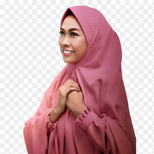 Pretty muslim woman praying to god Clipart PNG