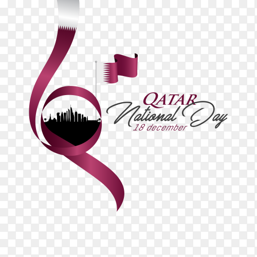 Qatar flag national day celebration with landmark Clipart PNG