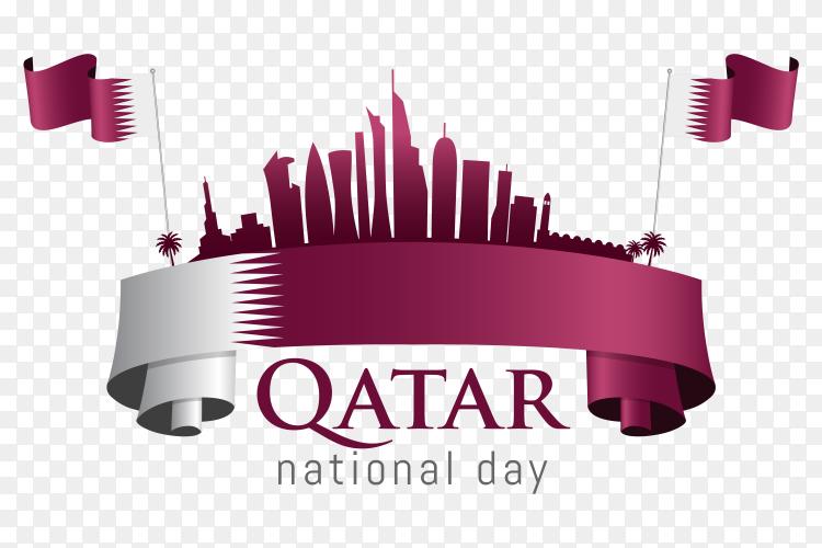 Qatar national day celebration with landmark flag on transparent background PNG