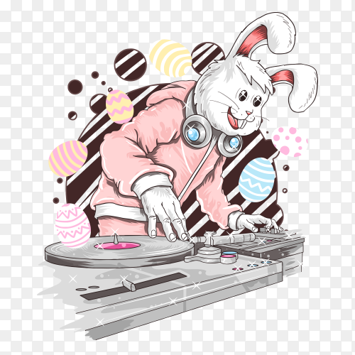 Rabbit cartoon Dj Party Music on transparent background PNG