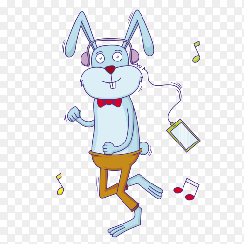 Rabbit listening music on transparent PNG