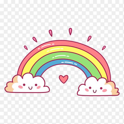 Rainbow cartoon on transparent background PNG