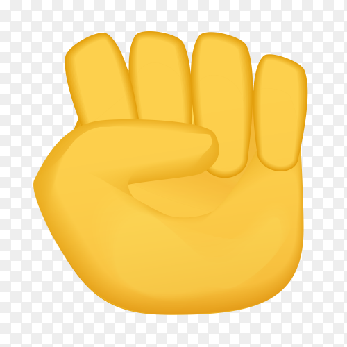 Raised fist gestures emoji on transparent PNG