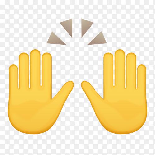Raising hands gestures emoji Premium vector PNG