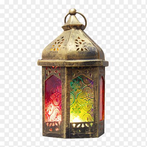 Ramadan kareem decorative arabic lantern with a burning candle Clipart PNG