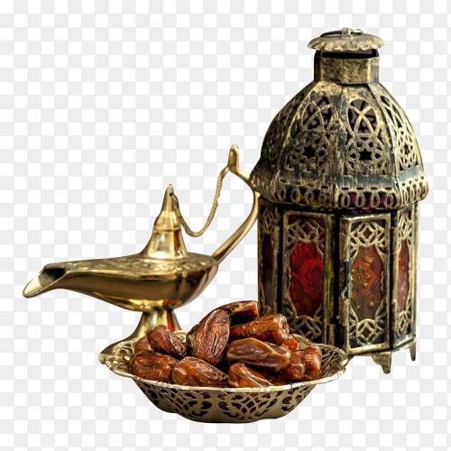 Ramadan lamp and dates Festive still life with oriental lantern on transparent PNG