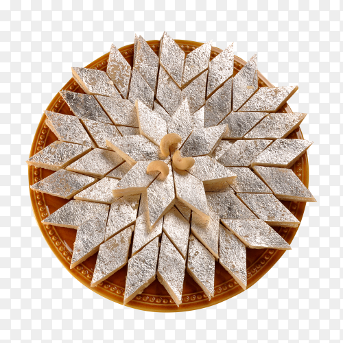 Ramadan sweets with Kaju Katli on transparent background PNG