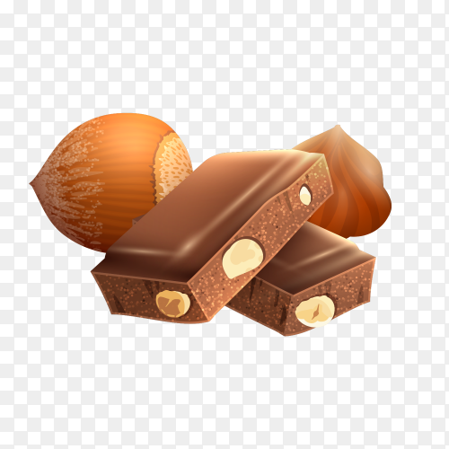 Realistic Pices chocolate with nuts Clipart PNG