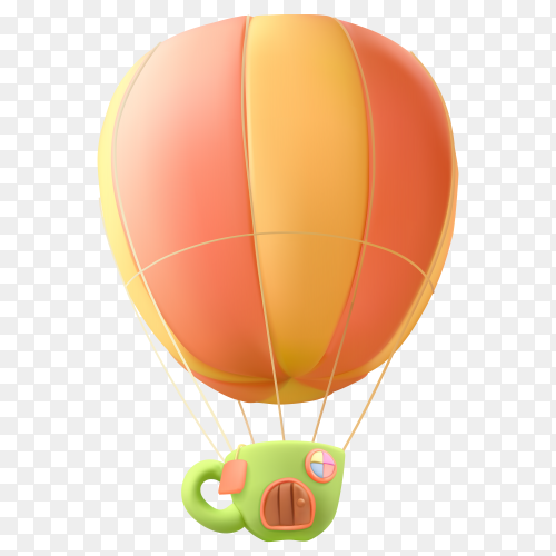 Realistic air balloon Premium vector PNG