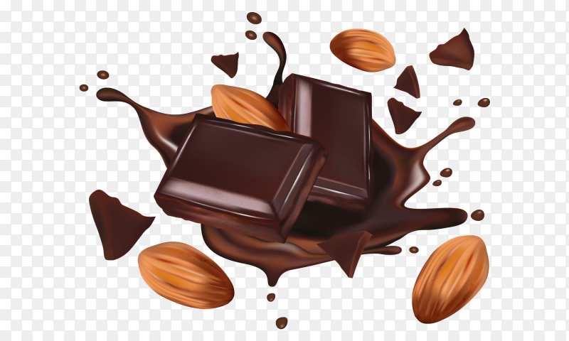 Realistic chocolate flows with nuts and bars Premium Vector PNG