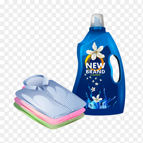 Realistic cleaning product advertising with clothes Clipart PNG