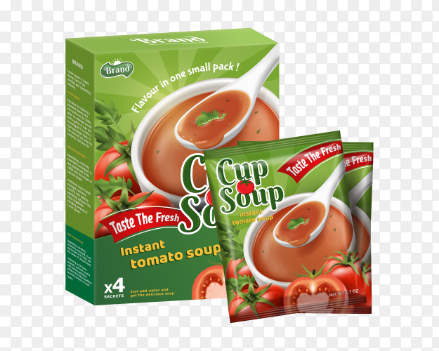 Realistic tomato soup advertising on transparent PNG