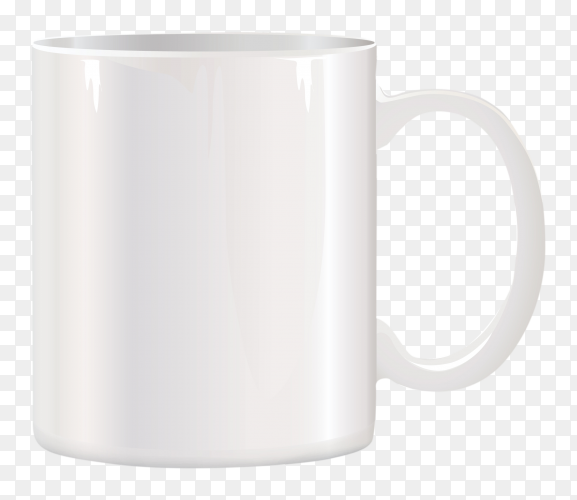Realistic white cup on transparent background PNG